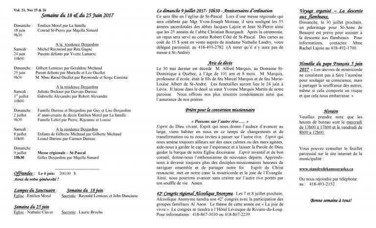 Feuillet paroissial du 18 et du 25 juin
