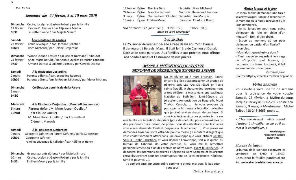 Feuillet paroissial- Semaines du 24 février, 3 & 10 mars 2019