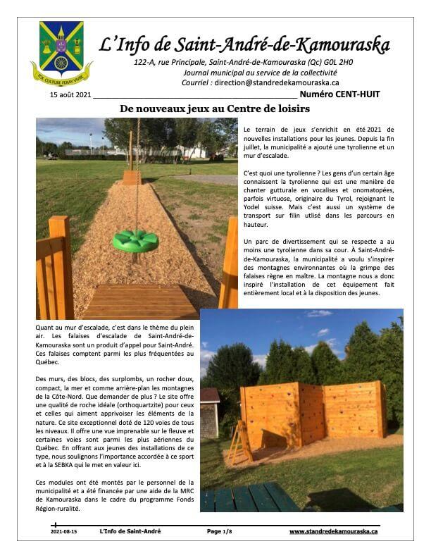 Journal L'Info de Saint-André août 2021