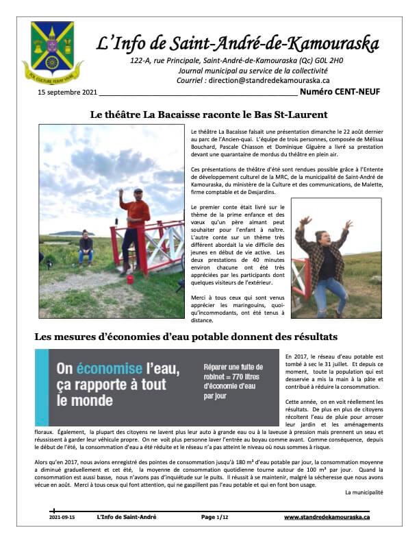 Journal L'Info de Saint-André septembre 2021