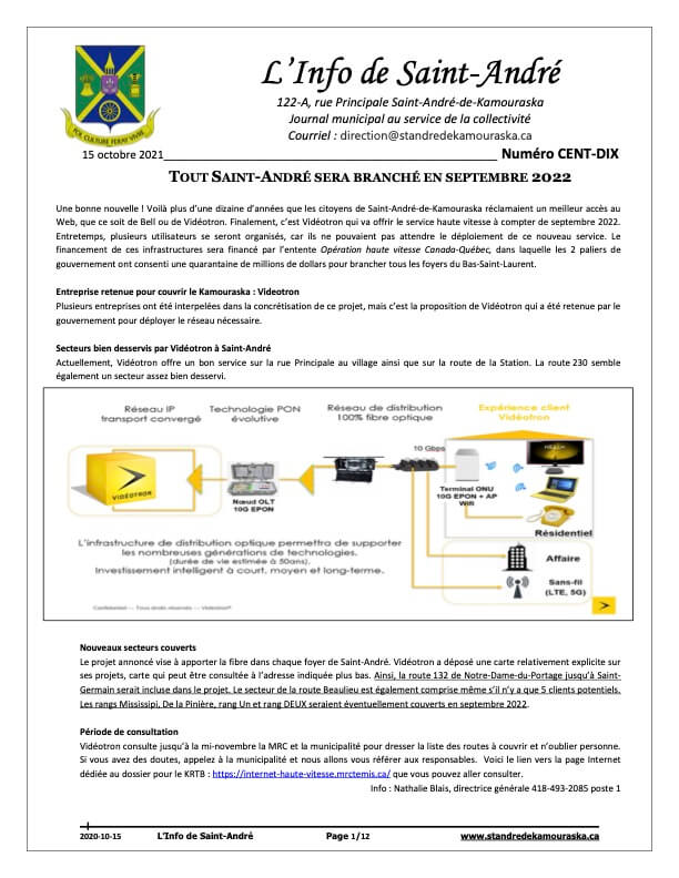 Journal L'Info de Saint-André octobre 2021
