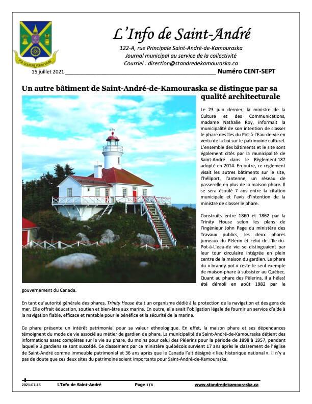 Journal L'Info de Saint-André juillet 2021